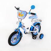 """Детский двухколёсный велосипед """"Авиатор 12"""", белый с голубым"""
