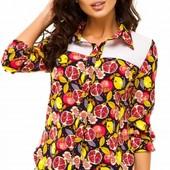 Размеры 42-48 Элегантная женская шифоновая блуза с ярким принтом
