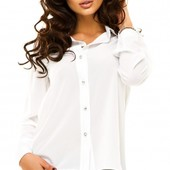 Размеры 42-48 Элегантная белая шифоновая женская блуза