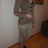 Zara S-ка пиджак с кожаными вставками и локтями