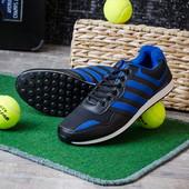 Мужские кроссовки с логотипом черные с синим 12524