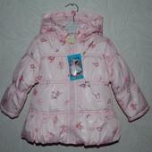 Демисезонная куртка детская розовая. Размер:12-18; 18-24м