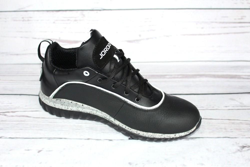 Мужские кожаные кроссовки, 2 вида, черные фото №4
