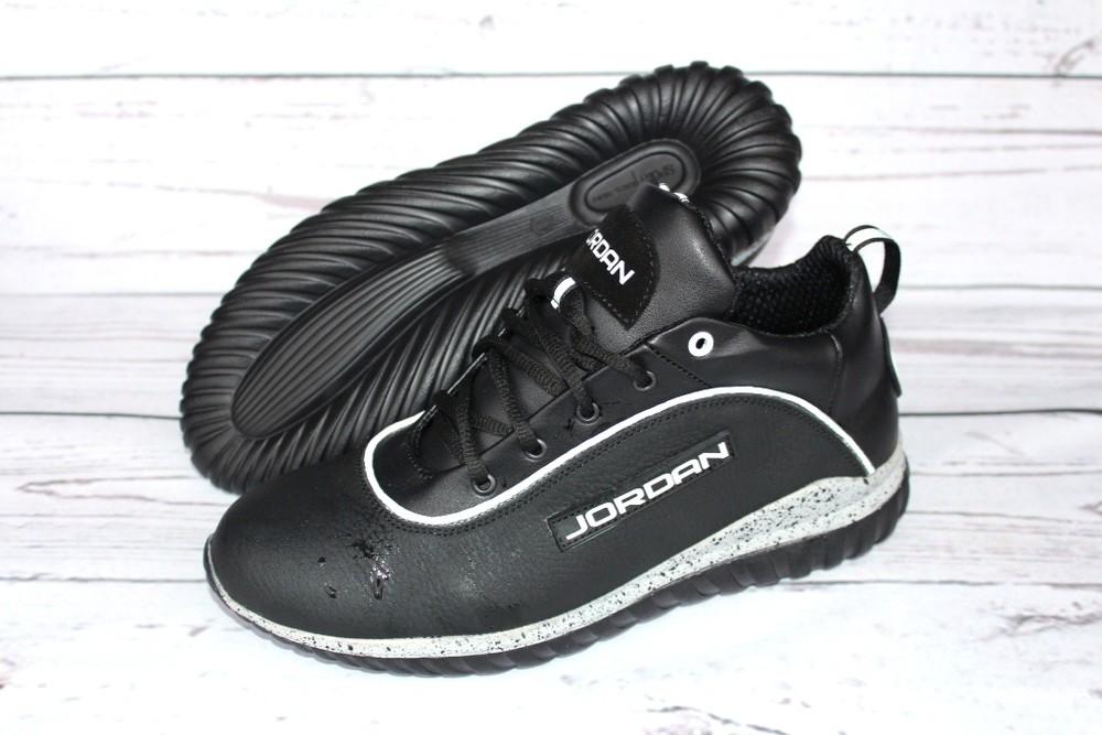 Мужские кожаные кроссовки, 2 вида, черные фото №5