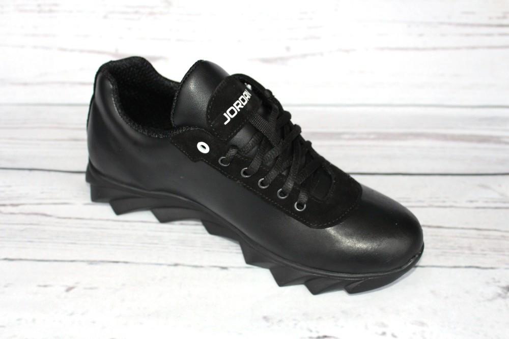 Мужские кожаные кроссовки, 2 вида, черные фото №8