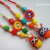 Слингобусы Сова совушка,деревянные,натуральные,мамабусы,кормительные бусы игрушка подвеска