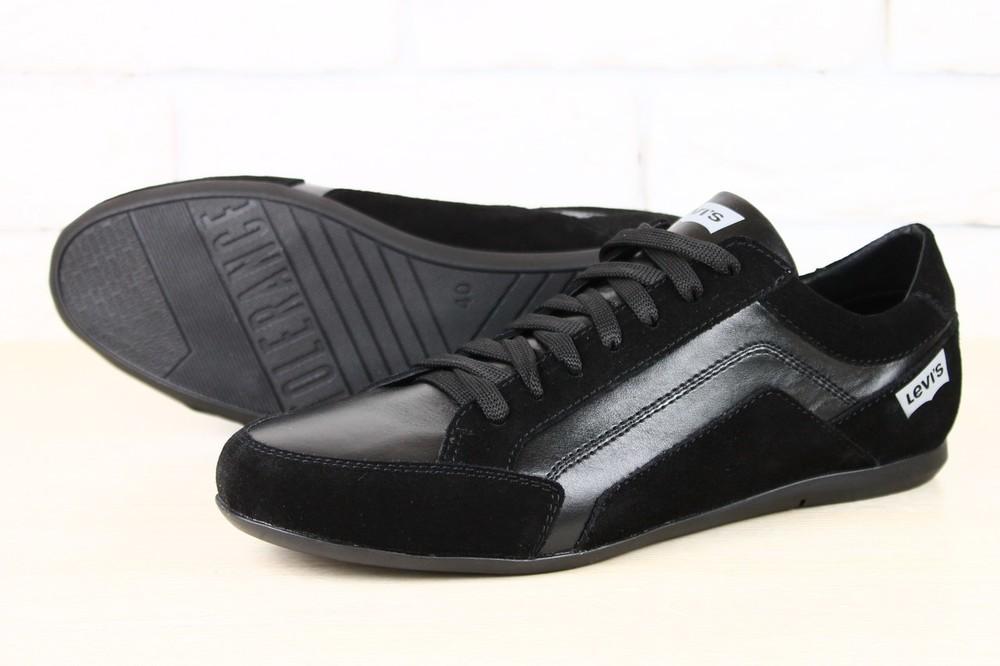 Кроссовки мужские черные, комбинированные: кожа и замша фото №1