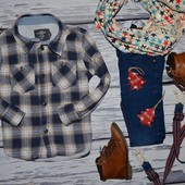 H&M Очень модная фирменная рубашка для мальчика 4 - 5 лет 110 см клетка