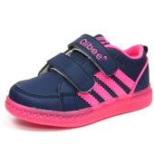 100-F-620 синий+малина,Детская спортивная обувь кроссовки с мигалками для девочки, Clibee, р-р 26-31