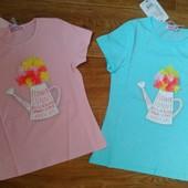 яркие и стильные футболки для девочек, Венгрия, 116..146 см, нашивка