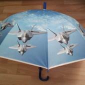 Купольный крутой зонт трость для мальчика 3-8 л. Самолёты, корабли, танки.
