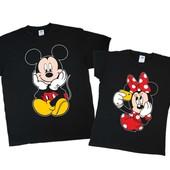 Комплект набор парных футболок минни и микки маус