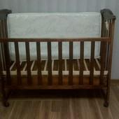 Детская кроватка Италия, с выдвижным ящиком для белья+матрас,кокос/латекс.
