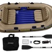 Надувная лодка гребная Intex 68324 315х145x43 см. Excursion 4 Set четырехместная Интекс