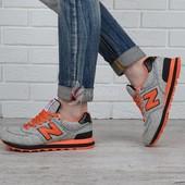 Кроссовки New Balance ml574gbr текстильные серые с оранжевым