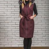 Разные цвета Женская длинная безрукавка жилетка с мехом