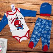 Костюм на мальчика Человек Паук, Spiderman, 62 68 размер, шапочка бодик ползунки, Турция