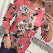 Блуза женская атлас в цветочный принт