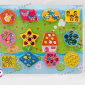 Деревянные вкладыши Животные, 12 вкладышей, геометрические фигуры, разные цвета