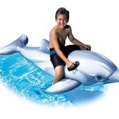 Игрушка надувная большая плотик Дельфин с ручками 201на76см Интекс Intex 58539