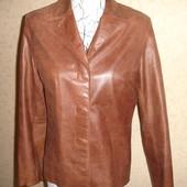 Кожаная рыжая куртка от M&S нв 46 размер в отличном состоянии