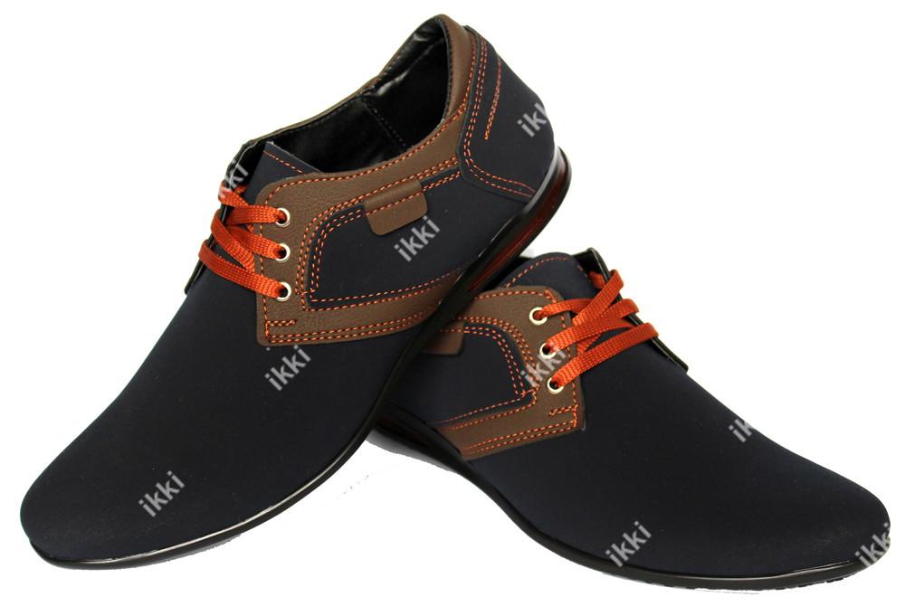 43 р Современные мужские туфли синего цвета (БМ-01 бр) фото №1