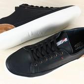 Кеды мужские черные кожаные c замшевой коричневой отделкой на шнурках