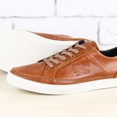 Кеды мужские коричневые кожаные c замшевой отделкой на шнурках