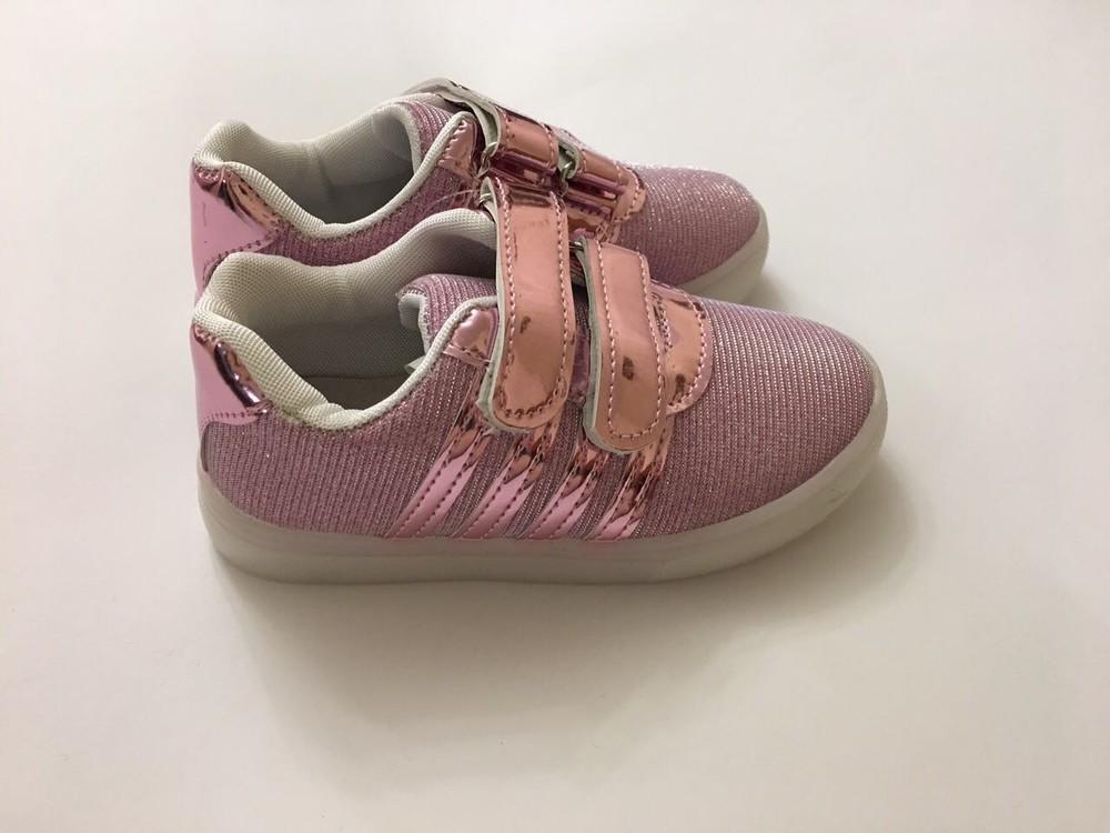 Кроссовки светяшки для девочки розовые фото №3