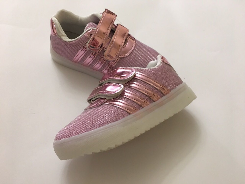 Кроссовки светяшки для девочки розовые фото №4