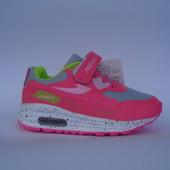 Детские кроссовки копия air max 26-31р розовый с салатовым