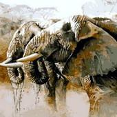 Картина по номерам Mariposa Слоны на водопое Q-814