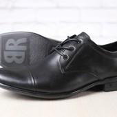 Мужские туфли, классические, из натуральной кожи, черные, на шнурках