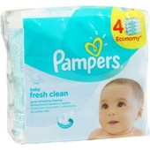 Влажные салфетки  Pampers sensitive 4X56, fresh clean quftro(3 + 1) X64