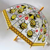 Качественный купольный прозрачный детский зонт зонтик трость для мальчика и девочки