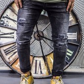 Джинсы рваные серо-черные джинсы ткань стрейч