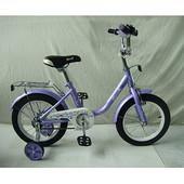 Двухколесный велосипед Profi Flower 14 Фиолетовый l1483 с приставными колесиками