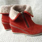 Tamaris р.37 напівчобітки ботинки сапожки шкіра замшеві