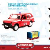 Модель джип Play Smart 6400E Автопарк пожарная машина бобик металлическая инерционная открывающиеся