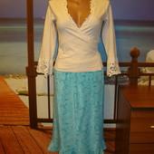 Шелковая юбка бирюзовая с орнаментом р.10-12 Laura Ashley