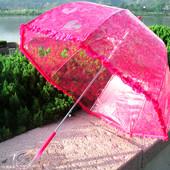 Качественный ажурный прозрачный купольный детский зонт зонтик трость для девочки