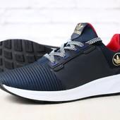 Мужские кроссовки, черные, из натуральной кожи, с текстильными вставками темно-синего цвета, на бело