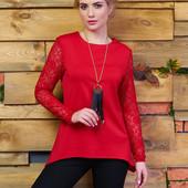 Стильная ассиметричная блуза с рукавами из гипюра