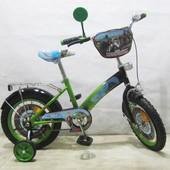 Велосипед двухколесный Мотогонщик 14 T-21423 light green + black