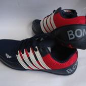 Мужские кроссовки копия сетка Adidas 43 и 44р. синие с красным.