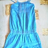 Джинсовый комбинезон- шорты для девочки 6-7 лет ( 116)