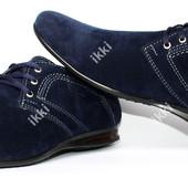 Стильные синие мужские туфли эко-замша (БМ-01сз)