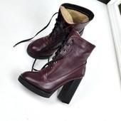 Зимние ботильоны  на шнуровке, цвет Марсала, Черный
