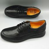 Кожаные туфли casual,  43р-28см, черный, Испания