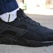 Мужские кроссовки Nike air Huarache black найк хуарачи черные